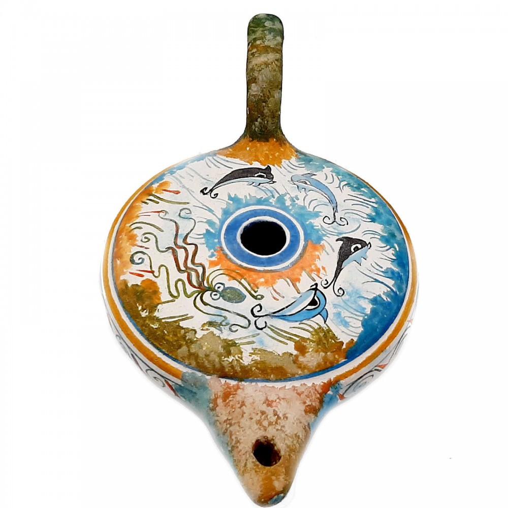 Κεραμικό  λυχνάρι,Κρητική τέχνη, 12cm πλάτος,20cm μήκος