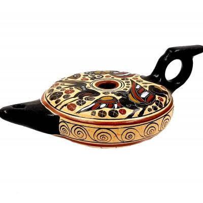 Κεραμικό  λυχνάρι,Κορινθιακή τέχνη, 12cm πλάτος,20cm μήκος