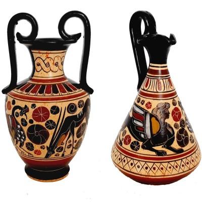 Set of 2 Corinthian Art vases 13,5cm,Ancient  Greek Pottery